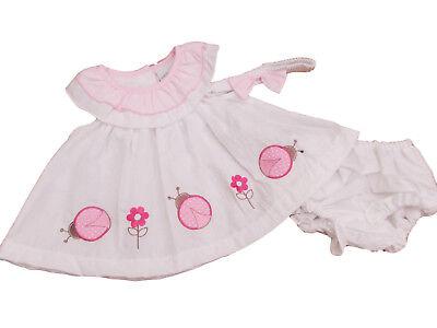 Neu mit Etikett Baby Mädchen Marienkäfer Sommerkleid Set in Rosa oder Weiß 0-3