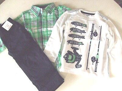 NWT Gymboree BACKYARD EXPLORER Size 5T 3 Pcs Tee Plaid Shirt & Navy Pants