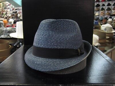 BORSALINO NAVY W/LIGHT BLUE TRILBY DRESS HAT (READ DESCRIPTION - Light Blue Fedora