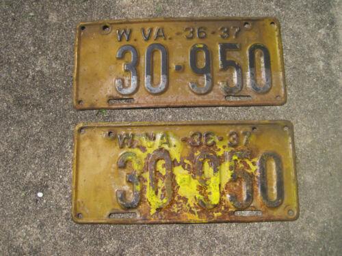 VINTAGE PAIR (FRONT & REAR) West Virginia License Plates  WV 1936-37 # 30-950