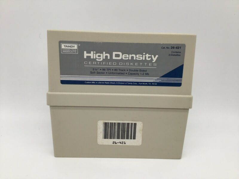 """Vintage Tandy Plastic Case For Three 5.25"""" Double Density Diskettes CASE ONLY"""