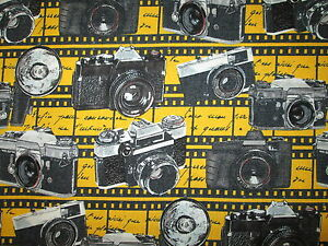 CAMERA VINTAGE MOVIE STAR HOLLYWOOD CAMERAS YELLOW COTTON FABRIC BTHY