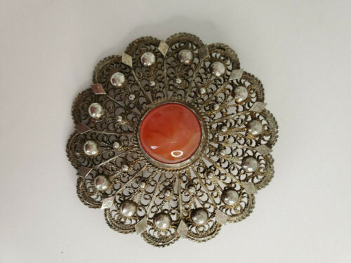 Antique Large 950 Silver with Carnelian Stone Filigree Style Brooch