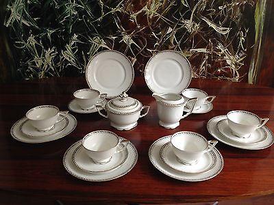 WEIMAR Regina 20 tlg. Teeservice für 6 Personen Weiß mit Efeuranke / Gold