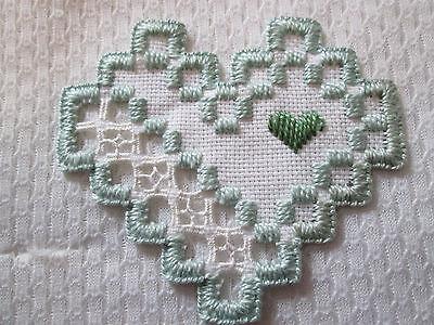 Hardanger Heart   Norwegian Embroidery Greens