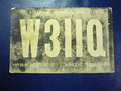 Vintage 1940s QSL Radio Card Postcard W3IIQ - PHILADELPHIA, PA PENNSYLVANIA #1