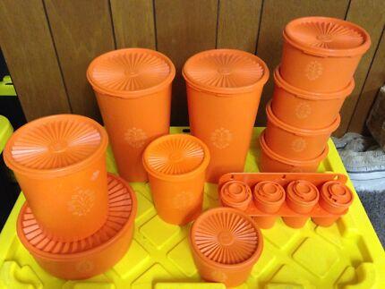 Vintage retro orange tupperware 10 piece canisters  & spice rack