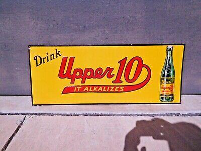 KILLER original vintage 1950's DRINK UPPER 10 lemon lime soda embossed tin sign