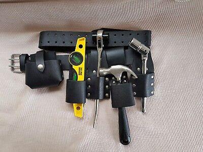 Scaffolding Leather Tool Belt 4 Scaffolders Hammer Holder 6pcs Set Work Tools