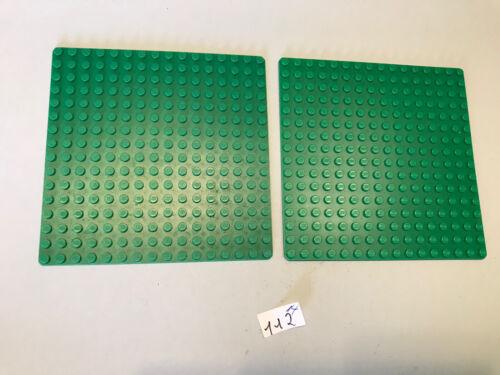 Lego 2 alte flache Grundplatten 16 x 16, grün