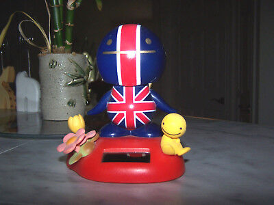 RARE!!! Tomy NoHoHon Solar Bobble Head English Flag Figure Body