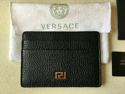 VERSACE Men's Cardholder Grained Black Leather Gold Greek Key Logo RRP £160