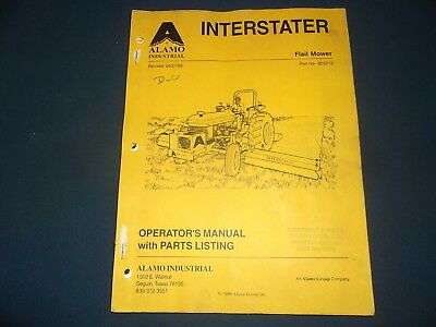 Alamo Industries Interstater Flail Mower Parts Operation Maintenance Manual Book