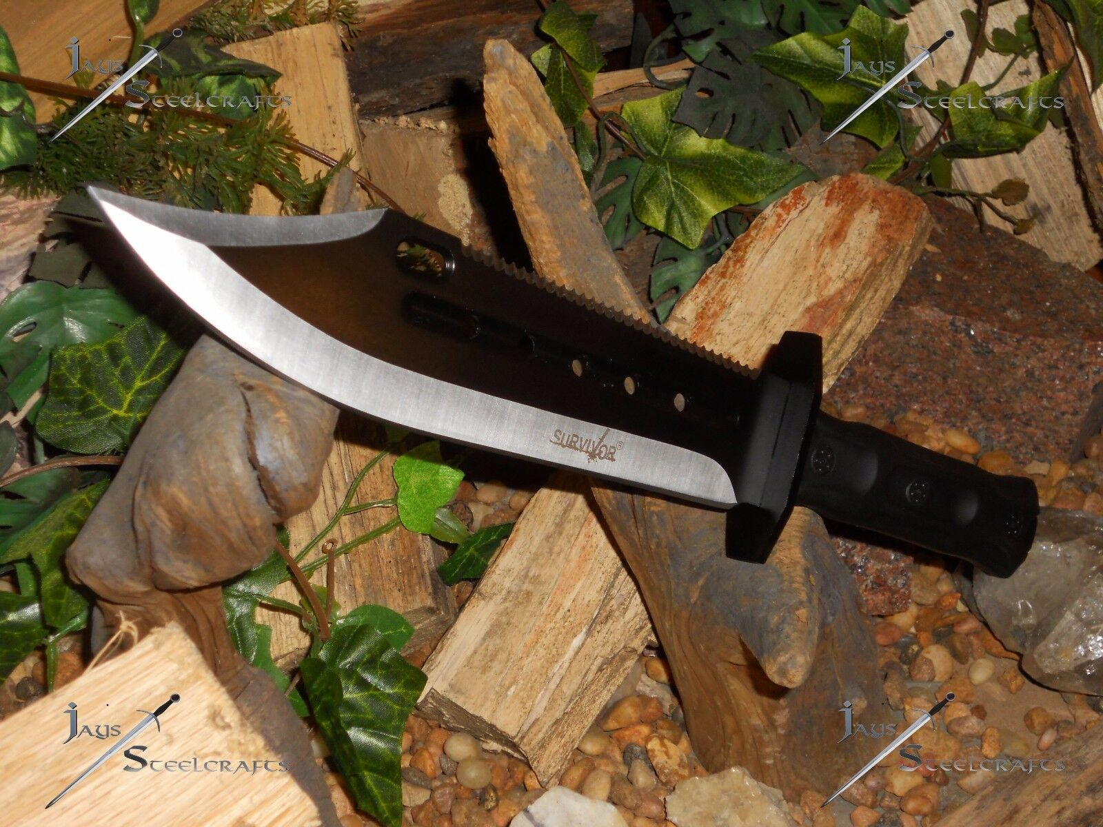knife bowie blade full tang molle sheath
