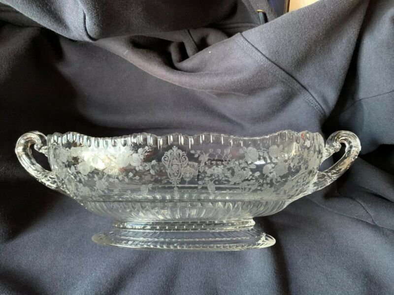Cambridge Glass Rose Point Oval Handled Footed Bowl As Is