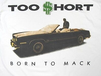 TOO $HORT BORN TO MACK Retro BAY AREA Golden Era Hip Hop S/S T-Shirt White -