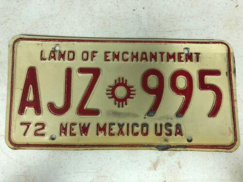 1972 NEW MEXICO License Plate AJZ-995