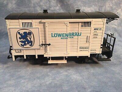 G Scale LGB 4131 2-axle Lowenbrau Bier Boxcar - Used, Metal Wheels