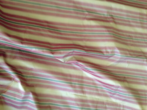 SCALAMANDRE  Stripe Silk Green Red Gold 2+ yds Remnant New