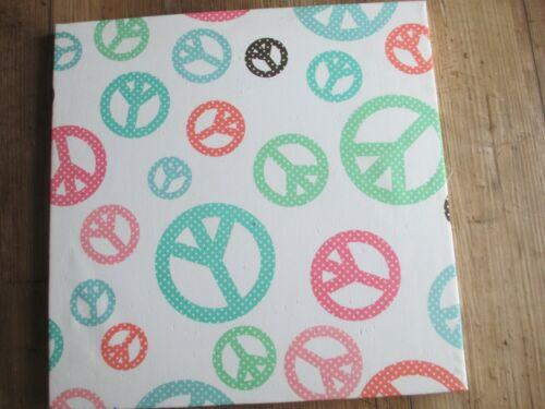 "Pottery Barn Pin Board Teen Memory Peace Symbols 16"" Square"