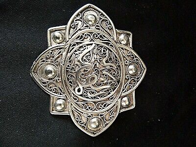 Antique Brooch Berber Silver Tone Filigree & Peach Enamel