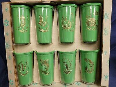 Set of 8 Vintage Green Aqua Themed Burritte Sta-Cold Insulated Tumblers 1950s R