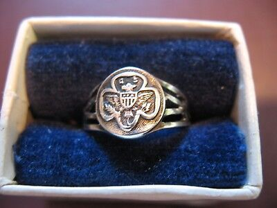 1920s EXTREMELY RARE Girl Scout RING in BOX Sterling Eagle Logo Collector GIFT for sale  Redwood City