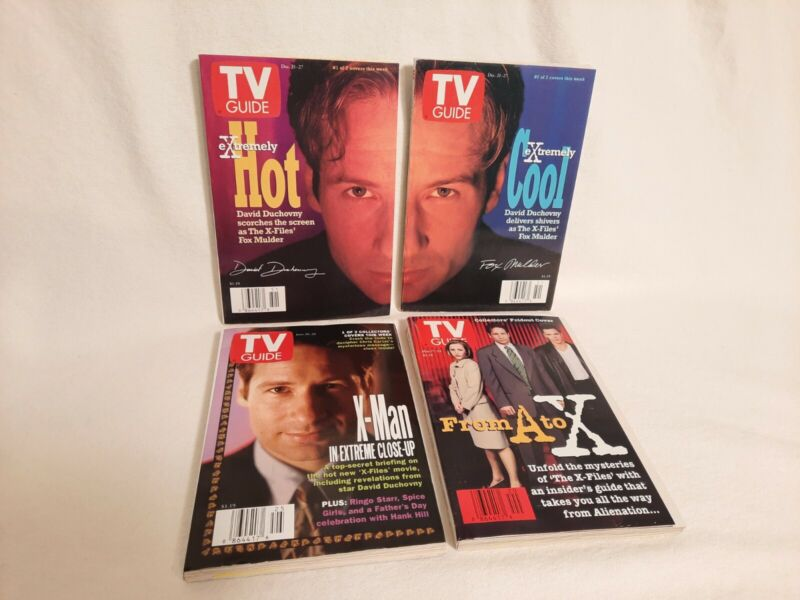 Lot of 4 Vintage 1990s X-Files TV Guide Collectible Issues, Anderson Duchovny