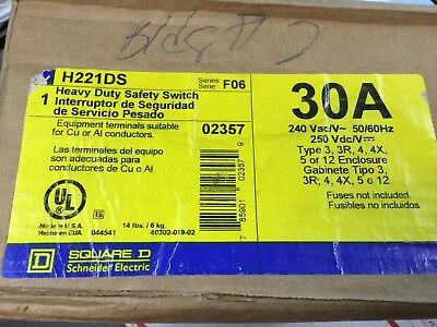 Square D H221ds Stainless Steel 30 Amp 240v Heavy Duty Safety Switch