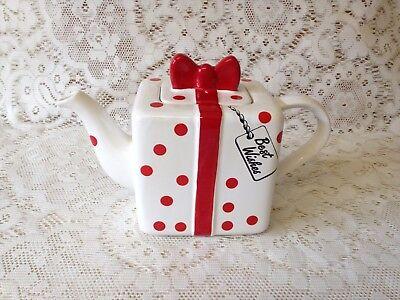 Price Kensington Best Wishes Teapot ~ White/Red Polka Dot Hand Painted Tea Pot