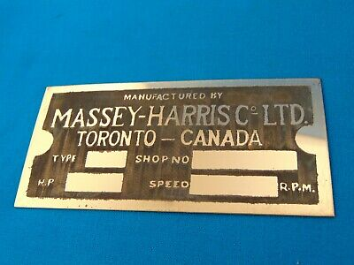 Massey-harris Gas Engine Hit Miss Antique Reproduction Data Plate Unstamped