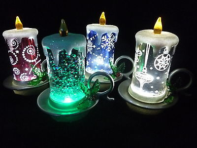 Hallmark Gift Bags 4 Candle Snow Globes*1-Red*1-Gold*1-Blue*1-Clear FREE ShipNEW