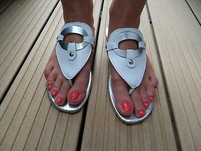 *GABOR* Damen Zehentrenner Gr. 37,5 weiß-silber Echtleder Flip Flop Sandale !!
