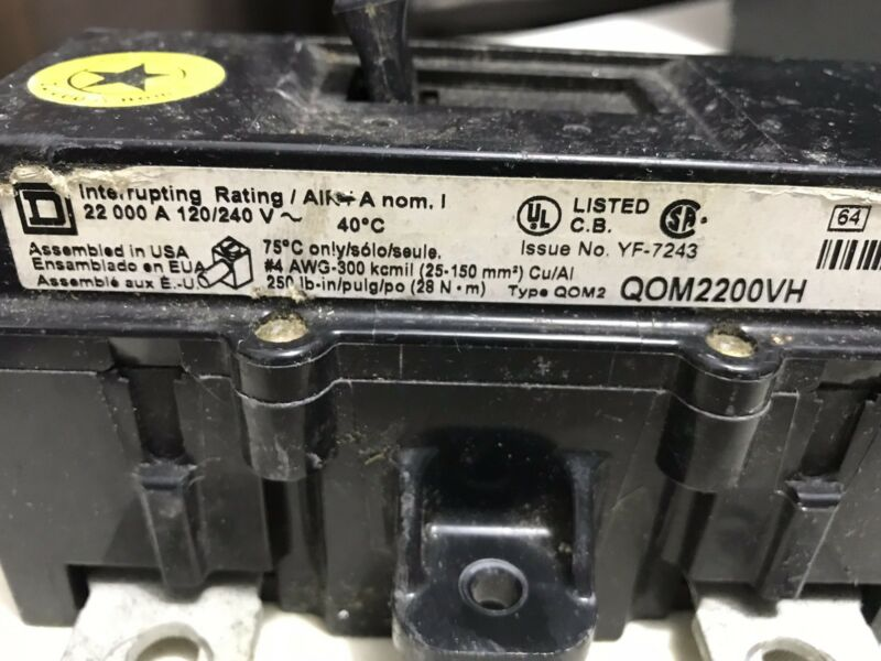 Square D QOM2200VH 200-Amp QOM2 Frame Size Main Circuit Breaker