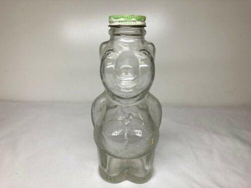 """Vintage GRAPETTE BEVERAGE SYRUP GLASS PIG PIGGY BANK w NICE CAP 7-1/4"""" FIGURAL"""