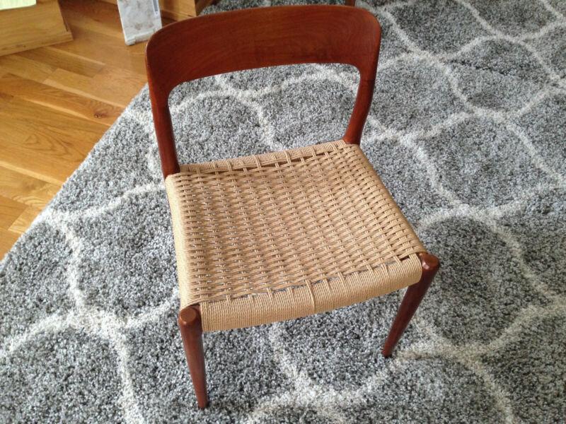 Danish Modern Niels Moller one SOLID TEAK chair -cord seat  VINTAGE ORIGINAL