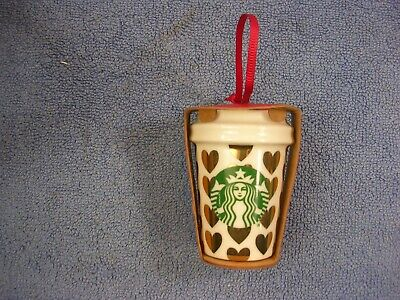 STARBUCKS 2015 Holiday Ceramic Coffee Cup Christmas Tree Ornament - Gold Hearts