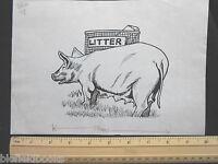 Original Ivan Wilding Pig/sow With Litter Cartoon (comic Postcard Artist) 1974 -  - ebay.co.uk