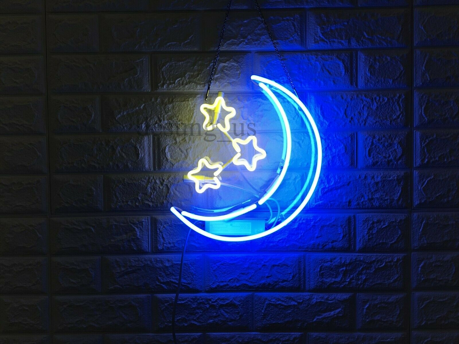 "New Moon Stars Neon Light Sign 14"" Lamp Beer Pub Acrylic Rea"