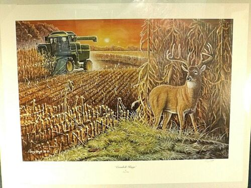 "JOHN DEERE COMBINE ART PRINT ""CORNBELT KINGS"" by T. HOYT - PRINT ONLY LTD ED S/N"