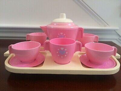 Vintage 1985 Fisher Price Fun W/Food Pink Tea Set & Tray COMPLETE EUC