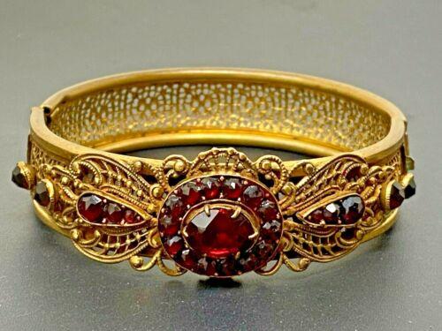 Vintage Czech Red Garnet Gold plated Hinged Bangle Bracelet