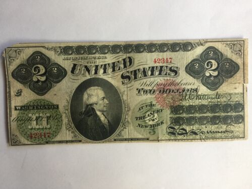 US 1862 Banknote $2. Dollar Large Size Bank Note Fr 41