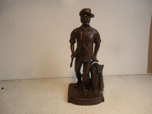 Jennings bros Concord 1775 metal figure  minuteman statue vtg antique bookend