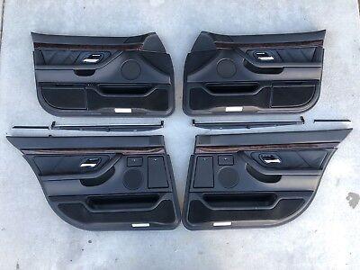 BMW E38 740iL 750iL FRONT REAR DOOR PANEL TRIM FULL SET BLACK LEATHER SUNSHADE