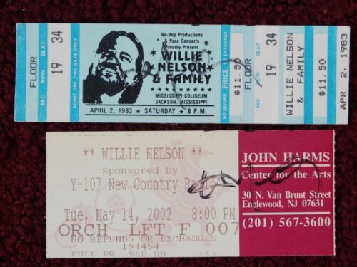 WILLIE NELSON signed CONCERT TICKETS - 1983 JACKSON, MS & 2002 ENGLEWOOD, NJ