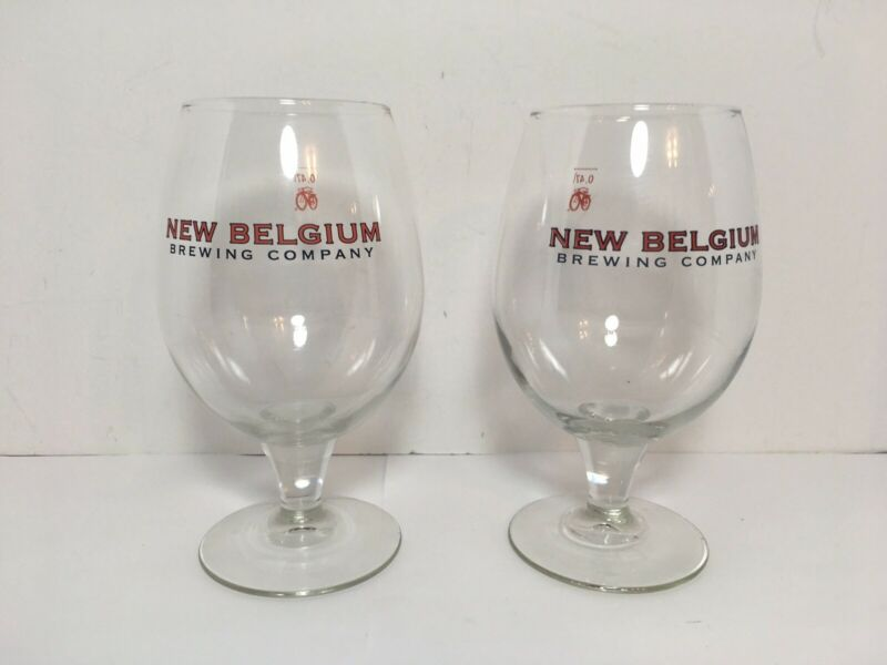 New Belgium Brewing Company Fat Tire Glass Set Of 2 Glasses