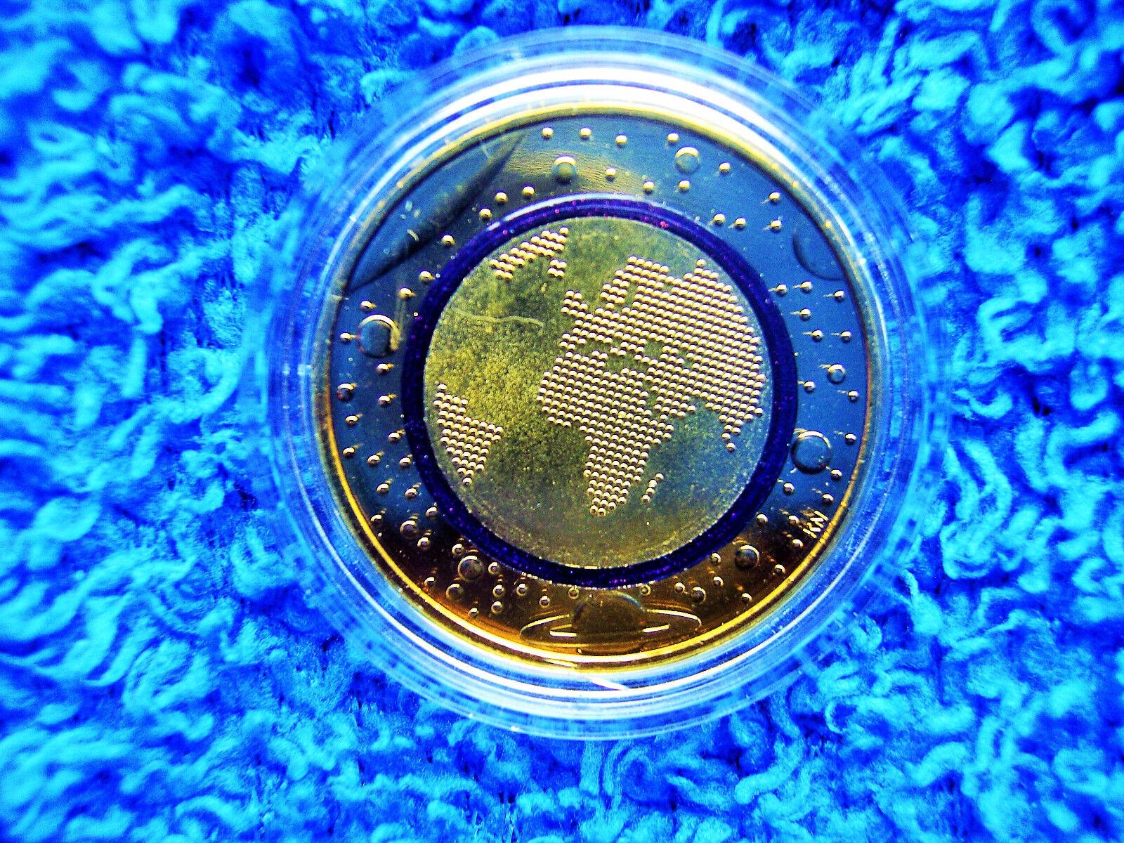5 Euro 2016 (J) Blauer Planet Erde mit blauem Polymerring VERGOLDET! Zertifikat!
