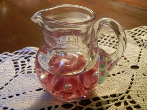 Vintage St Clair Paperweight Pitcher Creamer Pink Controlled Bubbles Stamped