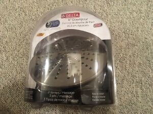 "Brand new Delta 8"" Downpour 3 spray massaging shower head"